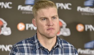 This Nov. 27, 2016 photo shows Cleveland Browns quarterback Josh McCown speaks during a news conference after an NFL football game against the New York Giants in Cleveland. McCown has been released by the Cleveland Browns, Tuesday, Feb. 7, 2017. (AP Photo/David Richard)
