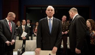 Homeland Security Secretary John Kelly arrives on Capitol Hill in Washington, Tuesday, Feb. 7, 2017, to testify before the House Homeland Security Committee hearing on border security. This is Kelly's first public appearance before lawmakers who are sure to press him for details about the Trump administration's contentious rollout of a travel and refugee ban. (AP Photo/Andrew Harnik)