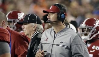 FILE - In this Jan. 9, 2017 file photo, Alabama offensive coordinator Steve Sarkisian stands on the sidelines during the second half of the NCAA college football playoff championship game against Clemson in Tampa, Fla. The Atlanta Falcons have hired Sarkisian as their new offensive coordinator. The move was announced Tuesday, Feb. 7 less than 24 hours after Kyle Shanahan left to become head coach of SF 49ers.  (AP Photo/David J. Phillip, File) **FILE**