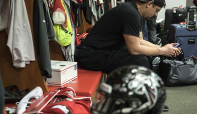 Atlanta Falcons tackle Ryan Schraeder sits in the locker room at the team's practice facility, Tuesday, Feb. 7, 2017, in Flowery Branch, Ga. (Branden Camp /Atlanta Journal-Constitution via AP)