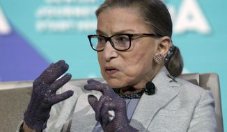 FILE - This Nov. 14, 2016 file photo Supreme Court Associate Justice Ruth Bader Ginsburg speaks at The Jewish Federations of American conference in Washington. Bader Ginsburg is set to speak at Stanford University about a topic that has many liberals anxious these days: Her life. University officials say the 83-year-old justice will offer personal reflections on her life at a discussion on Monday, Feb. 6. Bader Ginsburg has had colon and pancreatic cancer. She is the leader of the court's liberal wing. ( AP Photo/Jose Luis Magana,File)