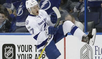 Tampa Bay Lightning left wing Jonathan Drouin (27) celebrates after scoring against the Los Angeles Kings during the first period of an NHL hockey game Tuesday, Feb. 7, 2017, in Tampa, Fla. (AP Photo/Chris O'Meara)