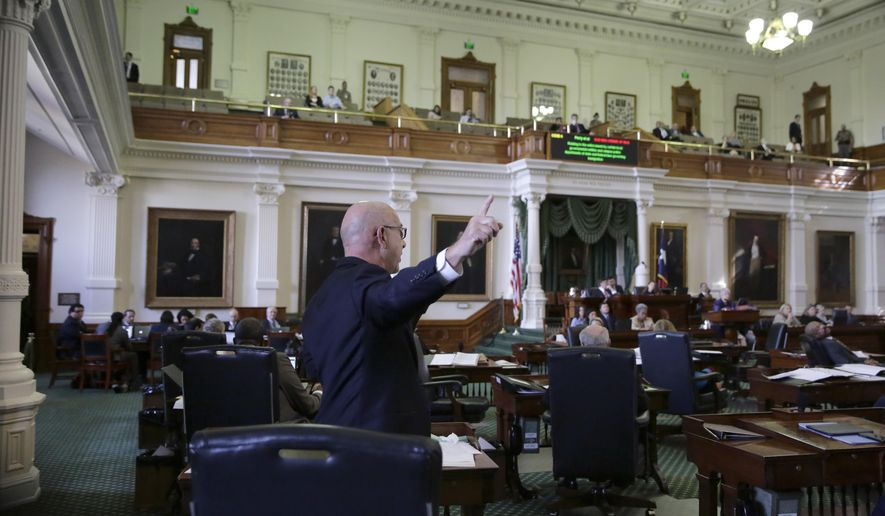 """Sen. John Whitmire, D-Houston, speaks as the Texas Senate debates a contentious """"sanctuary cities"""" proposal that would compel local police to enforce federal immigration laws and is on track to be the first piece of legislation passed by either chamber this session, Tuesday, Feb. 7, 2017, at the Texas Capitol in Austin, Texas. (AP Photo/Eric Gay)"""
