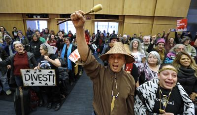 Olivia One Feather, right, and Paul Cheoketen cheer with other audience members after the Seattle City Council voted to divest from Wells Fargo, Tuesday, Feb. 7, 2017, in Seattle. The City Council voted to divest $3 billion in city funds from Wells Fargo over its funding of the Dakota Access Pipeline. (AP Photo/Elaine Thompson)