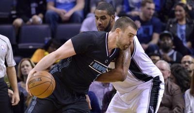 Memphis Grizzlies center Marc Gasol, left, drives against San Antonio Spurs forward LaMarcus Aldridge in the second half of an NBA basketball game Monday, Feb. 6, 2017, in Memphis, Tenn. (AP Photo/Brandon Dill)