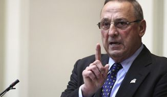 Gov. Paul LePage delivers the State of the State address to the Legislature, Tuesday, Feb. 7, 2017, at the State House in Augusta, Maine. (AP Photo/Robert F. Bukaty)