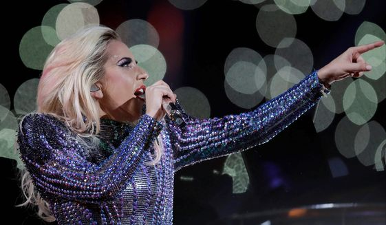 Lady Gaga performing at the halftime show for Superbowl 51     Associated Press photo