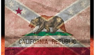 Illustration on California's secessionist sentiments by Alexander Hunter/The Washington Times