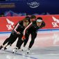 Canadian skaters train in Gangneung, South Korea, on Wednesday in a test event for the 2018 Olympics, which has been marred by political scandal. (Associated Press)