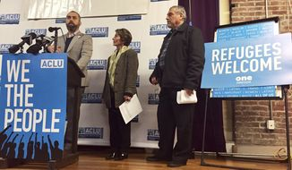 FILE- In this Feb. 1, 2017 file photo, ACLU of Oregon legal director Mat dos Santos speaks at a news conference in Portland to announce a federal lawsuit filed in U.S. District Court in Portland against President Donald Trump's executive immigration order. President Trump's immigration order has had a positive effect of the ACLU's bottom line. Tens of millions of dollars are pouring into the ACLU and hundreds of thousands of people are signing on as members so quickly that the group's 1,150 employees can't keep track. (AP Photo/Gillian Flaccus, File)