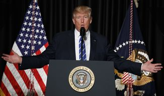 President Donald Trump speaks to the Major County Sheriffs' Association and Major Cities Chiefs Association, Wednesday, Feb. 8, 2017, in Washington. (AP Photo/Evan Vucci)