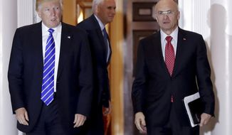 FILE - In this Nov. 19, 2016 file photo, then-President-elect Donald Trump walks Labor Secretary-designate Andrew Puzder from Trump National Golf Club Bedminster clubhouse in Bedminster, N.J. Puzder has proposed avoiding conflicts of interest by resigning as CEO of his fast food empire, selling off hundreds of holdings and recusing himself from government decisions in which he has a financial interest, according to his ethics filings with the government. (AP Photo/Carolyn Kaster, File)