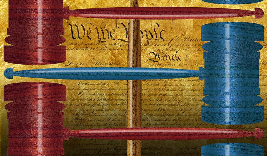 Illustration on the politicization of the judiciary by Alexander Hunter/The Washington Times