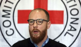 International Committee of the Red Cross spokesperson Thomas Glass speaks during an interview with the Associated Press in Kabul, Afghanistan, Thursday, Feb. 9, 2017. Gunmen killed six employees of the ICRC in northern Afghanistan on Wednesday, the aid group said. (AP Photo/Rahmat Gul)