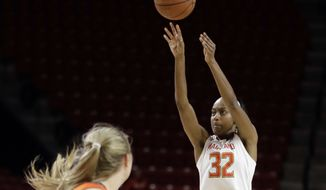 Maryland guard Shatori Walker-Kimbrough, right, shoots over Illinois guard Courtney Joens during the second half of an NCAA college basketball game, Thursday, Feb. 9, 2017, in College Park, Md. (AP Photo/Patrick Semansky)
