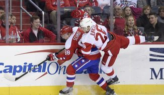 Detroit Red Wings right wing Tomas Jurco (26), of Slovakia, gets upended against Washington Capitals defenseman Nate Schmidt (88) during the second period of an NHL hockey game, Thursday, Feb. 9, 2017, in Washington. (AP Photo/Nick Wass)