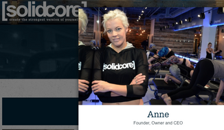 """Anne Mahlum, founder and CEO of [solidcore], a chain of fitness studios, is shown in this screen capture from her company's website. In a Feb. 9, 2017 Facebook post, Ms. Mahlum complained that Ivanka Trump took a class at one of her studios under an alias, and that she'd like to """"reach out"""" to her to complain about her father's policies. (www.solidcore.co)"""
