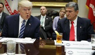 Sen. Joe Manchin, D-W.Va., listens at right as President Donald Trump speaks during a meeting with Senators on his Supreme Court Justice nominee Neil Gorsuch, Thursday, Feb. 9, 2017, in the Roosevelt Room of the White House in Washington. (AP Photo/Evan Vucci)