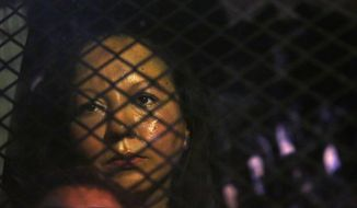 Guadalupe Garcia de Rayos is locked in a van that is stopped in the street by protesters outside the Immigration and Customs Enforcement facility Wednesday, Feb. 8, 2017, in Phoenix. Apparently fearing her deportation, activists blocked the gates surrounding the office near central Phoenix in what the Arizona Republic says was an effort to block several vans and a bus inside from leaving. (Rob Schumacher/The Arizona Republic via AP)