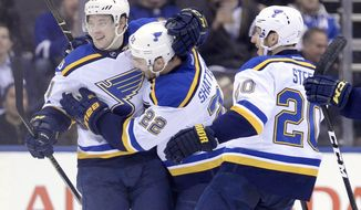 St. Louis Blues right wing Vladimir Tarasenko (91) celebrates his goal with defenseman Kevin Shattenkirk (22) and left wing Alexander Steen (20), against the Toronto Maple Leafs during overtime of an NHL hockey game Thursday, Feb. 9, 2017, in Toronto. (Nathan Denette/The Canadian Press via AP)