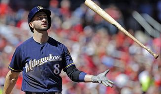 FILE - In this Sept. 11, 2016, file photo, Milwaukee Brewers' Ryan Braun (8) tosses his bat after hitting a foul ball in the third inning of a baseball game against the St. Louis Cardinals in St. Louis. The 33-year-old outfielder heads to spring training as the longest-tenured member of a team in a multi-year transition.  (AP Photo/Tom Gannam, File)