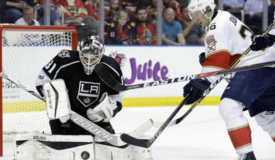 Los Angeles Kings goalie Peter Budaj (31) makes a stop on a shot by Florida Panthers' Jussi Jokinen (36) during the second period of an NHL hockey game, Thursday, Feb. 9, 2017, in Sunrise, Fla. (AP Photo/Lynne Sladky)