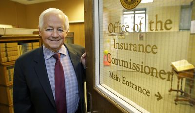 Washington Insurance Commissioner Mike Kreidler poses for a photo, Wednesday, Feb. 8, 2017, in his office at the Capitol in Olympia, Wash. Two bills have been introduced in the Washington state Legislature with the goal of making sure that even if national Republicans and President Donald Trump follow through on their promise to repeal the Obama-era national health care law, that preventative health coverage benefits remain intact in the state. Kreidler said that he supports the measures, but acknowledged that they maybe premature until details of federal-level plans are known. (AP Photo/Ted S. Warren)