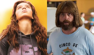 """Hailee Steinfeld as Nadine Franklin in """"Edge of Seventeen"""" and Zach Galifianakis as David Scott Ghantt in """"Masterminds,"""" now available on Blu-ray."""