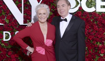 """FILE - This June 12, 2016 file photo shows Glenn Close , left, and Andrew Lloyd Webber at the Tony Awards in New York. Close is reprising her Tony-winning role as Norma Desmond in """"Sunset Boulevard,"""" the English National Opera's stripped-down revival of the Andrew Lloyd Webber musical.(Photo by Charles Sykes/Invision/AP, File)"""