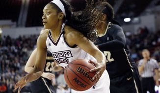 Mississippi State forward Victoria Vivians dribbles past a Vanderbilt player in the first half of an NCAA college basketball game in Starkville, Miss., Thursday, Feb. 9, 2017. (AP Photo/Rogelio V. Solis)