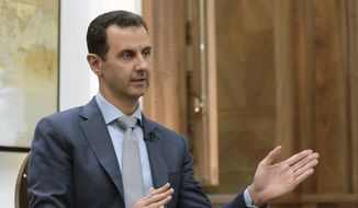 "In this photo released by the Syrian official news agency SANA, Syrian President Bashar Assad speaks during an interview with Yahoo News in Damascus, Syria, Friday, Feb. 10, 2017. Assad said, there are ""definitely"" terrorists among the millions of Syrians seeking refuge in the West. He said it doesn't have to be a ""significant"" number of terrorists because no need for a significant ""number to commit atrocities."" (SANA via AP)"