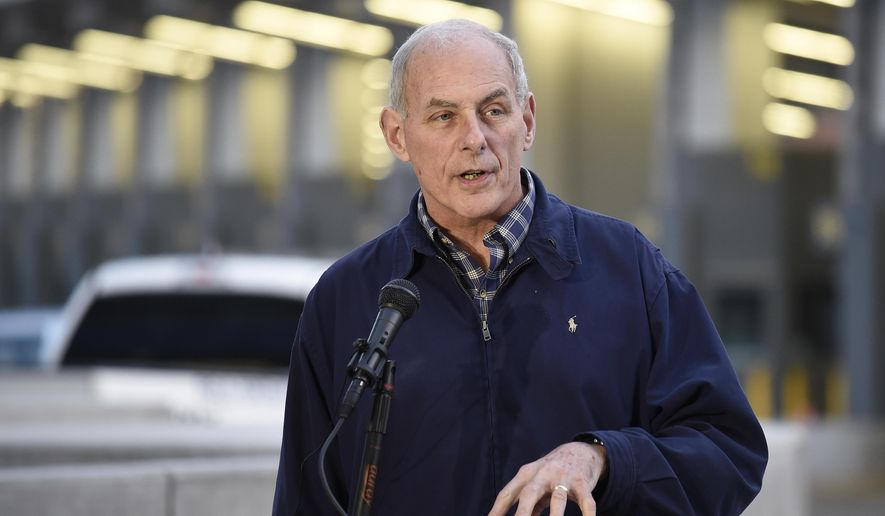 Secretary of Homeland Security John Kelly speaks at news conference as vehicles enter the United States from Mexico at the San Ysidro Port of Entry, Friday, Feb. 10, 2017, in San Diego. (AP Photo/Denis Poroy)