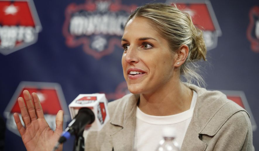 Elena Delle Donne speaks during a news conference in Washington, Friday, Feb. 10, 2017. Delle Donne was acquired by the Washington Mystics from the Chicago Sky this month in one of the biggest trades in the WNBA's history. (AP Photo/Manuel Balce Ceneta)