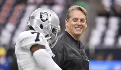 FILE - In this Saturday, Jan. 7, 2017, file photo, Oakland Raiders coach Jack Del Rio walks on the field before the first half of an AFC wild card NFL football game between the Houston Texans and the Raiders in Houston. The Raiders rewarded Del Rio with a new four-year contract Friday, Feb. 10, 2017, replacing the original four-year deal he received when he took the job in January 2015. (AP Photo/Eric Christian Smith, File)