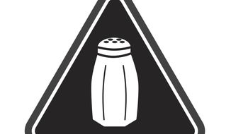 """FILE - In this undated image provided by the New York City Health Department, a graphic warning New York city consumers of high salt content in foods required on menus at many fast-food and chain restaurants is shown. A New York State Supreme Court Appellate Division panel ruled Friday, Feb. 10, 2017, that the requirement for chain restaurants to flag salty items on their menus is both legal and """"salutary."""" (Antonio D'Angelo/New York City Health Department via AP)"""