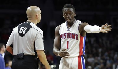 Detroit Pistons guard Reggie Jackson (1) argues a call with referee Aaron Smith during the second half of the team's NBA basketball game against the San Antonio Spurs, Friday, Feb. 10, 2017, in Auburn Hills, Mich. (AP Photo/Carlos Osorio)