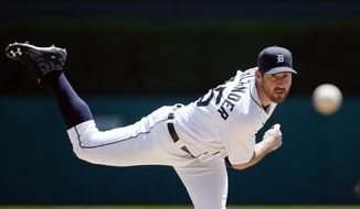 FILE - In this May 18, 2016, file photo, Detroit Tigers' Justin Verlander throws a warmup pitch in the second inning of a baseball game against the Minnesota Twins in Detroit. The Tigers return with their usual core led by Verlander. (AP Photo/Paul Sancya, File)