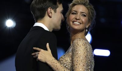 Ivanka Trump and her husband Jared Kushner dance at the inauguration Freedom Ball in Washington, Jan. 20, 2017. (AP Photo/Evan Vucci, File) ** FILE **