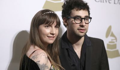 Lena Dunham, left, and Jack Antonoff attend the Clive Davis and The Recording Academy Pre-Grammy Gala at The Beverly Hilton Hotel on Saturday, Feb. 11, 2017, in Beverly Hills, Calif. (Photo by Rich Fury/Invision/AP)
