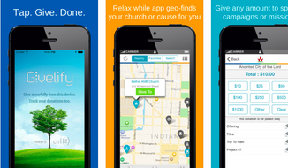 Givelify app for donating to churches. Designed by engineers from Indianapolis, the mobile phone app makes it easier for church-goers to donate money. (iTunes app store screenshot)