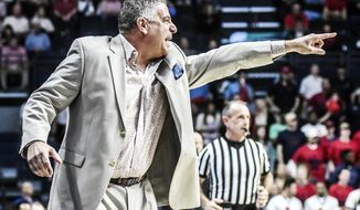 Auburn head coach Bruce Pearl reacts during an NCAA college basketball game against Mississippi in Oxford, Miss., Saturday, Feb. 11, 2017. (Bruce Newman/The Oxford Eagle via AP)