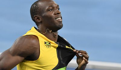 FILE - In this Aug. 19, 2016 file photo, Jamaica's Usain Bolt celebrates winning the gold medal in the men's 4x100-meter relay final during the athletics competitions of the 2016 Summer Olympics at the Olympic stadium in Rio de Janeiro, Brazil. Bolt and his All Stars completed a clean sweep of the inaugural Nitro Athletics series on Saturday, Feb. 11, 2017 with Bolt winning the 150-meter race in his only solo appearance of the three-night meet. (AP Photo/Martin Meissner, File)