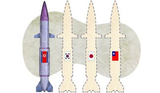 Asian Proliferation of Nuclear Weapons Illustration by Greg Groesch/The Washington Times