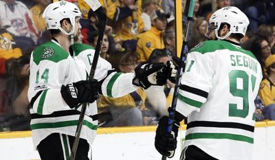 Dallas Stars left wing Jamie Benn (14) is congratulated by teammate Tyler Seguin (91) after scoring a goal against the Nashville Predators during the first period of an NHL hockey game Sunday, Feb. 12, 2017, in Nashville, Tenn. (AP Photo/Mark Humphrey)