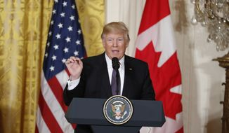 President Donald Trump speaks during a joint news conference with Canadian Prime Minister Justin Trudeau in the East Room of the White House in Washington, Monday, Feb. 13, 2017.  (AP Photo/Pablo Martinez Monsivais)