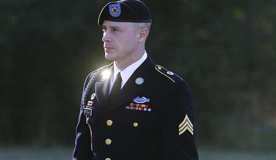 FILE - In this Jan. 12, 2016, file photo, Army Sgt. Bowe Bergdahl arrives for a pretrial hearing at Fort Bragg, N.C.  Bergdahl and his attorneys have arrived at a courthouse Monday, Feb. 13, 2017, where they'll try to convince a military judge that President Donald Trump violated Bergdahl's due process rights. Bergdahl is scheduled for trial in April. He is accused of endangering the lives of soldiers who searched for him after he walked off his post in Afghanistan in 2009.(AP Photo/Ted Richardson, File)