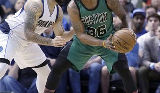 Boston Celtics guard Marcus Smart (36) keeps the ball from Dallas Mavericks guard Deron Williams (8) during the first half of an NBA basketball game in Dallas, Monday, Feb. 13, 2017. (AP Photo/LM Otero)