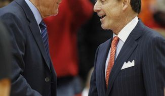 Syracuse head coach Jim Boeheim, left, and Louisville head coach Rick Pitino, right, shake hands before an NCAA college basketball game in Syracuse, N.Y., Monday, Feb. 13, 2017. (AP Photo/Nick Lisi)