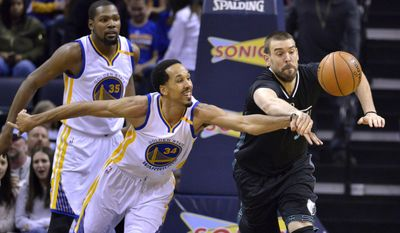 Memphis Grizzlies center Marc Gasol, right, passes the ball as Golden State Warriors guard Shaun Livingston (34) defends as Warriors forward Kevin Durant (35) watches during the first half of an NBA basketball game Friday, Feb. 10, 2017, in Memphis, Tenn. (AP Photo/Brandon Dill)