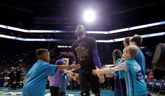 Charlotte Hornets' Kemba Walker won't be showing off his 3-point skills in front of his home crowd this weekend after the NBA moved the NBA All-Star Game festivities last summer to New Orleans when North Carolina politicians failed to repeal House Bill 2. (Associated Press)
